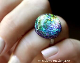 Harajuku Street Fashion Gumball Glitter Resin Ring In Multi Colors, Rainbow Ring, Cute Resin Ring, Adjustable Ring, Rainbow Resin Ring