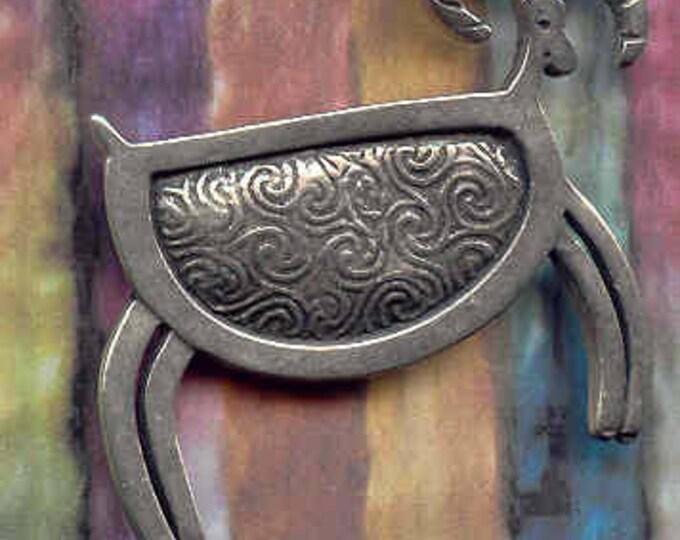 Petroglyph Sheep pewter brooch