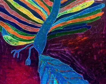 Bennu - original painting mixed media/acrylic+giclée+photo+digital on canvas