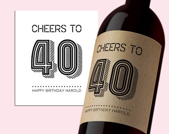 INSTANT DOWNLOAD PDF Template 3,5x4 Editable Wine Label Cheers to 40 Happy Birthday Printable Tag Printable Digital Wine Label Cheers to 40