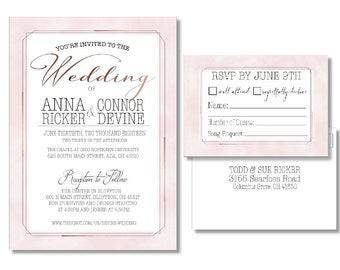 PDF Pink and Gold Wedding Invitation Set