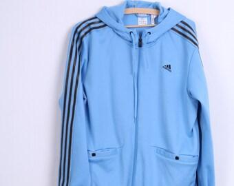 Adidas Mens M Sweatshirt Blue Hood Jumper Sport