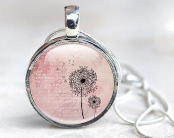 Pink Dandelion Necklace, picture of dandelion , Dandelion jewellery, dandelion seed head pendant, dandelion picture, dandelion flower