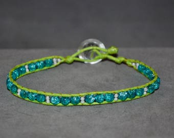 lime green and light blue beaded wrap bracelet