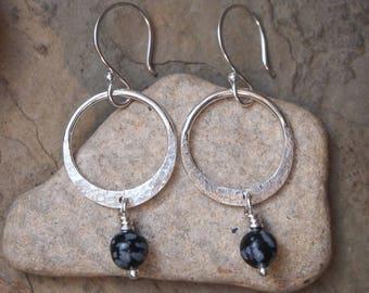 Snowflake obsidian silver hoop earrings, Boho earrings, Argentium silver earrings, handmade artisan silver jewelry by ARC Jewellery UK
