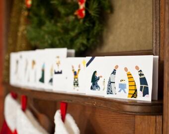 Christmas Fabric Nativity Greeting Cards