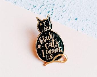 Black Cat enamel pin. Cat lapel pin badge. Collar pin accessory. Black cat gifts. Cat lover gift.