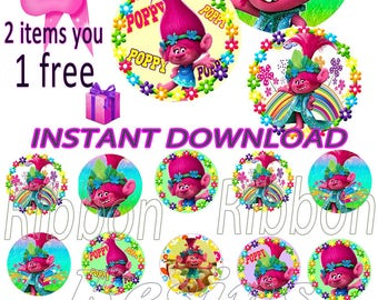 "50% SALE INSTANT DOWNLOAD- Poopy Trolls  Digital Bottle Cap Images - 1"" Bottle Cap Images 4x6-  Buy 2 get 1 Free"