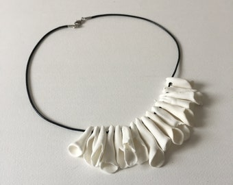 White unusual necklace/Sculpted beads necklace/One of kind necklace/Polymer clay necklace/Black white necklace/womens gift/designers jewelry