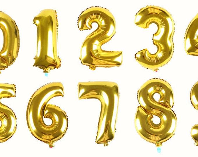 Gold 16 inch Foil Birthday Balloon - Jumbo Number Balloon