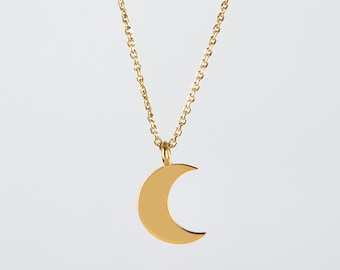 Dainty moon necklace, Crescent moon necklace, Solid gold necklace, K 14 crescent, K18 moon necklace, Geometric jewelry, Gold moon charm