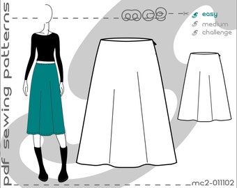 A-line Skirt (sizes: uk 6-16/ usa 2-12) SLOPER/BLOCK Sewing Digital pdf Pattern for Women >mc2patterns< mc2-011102