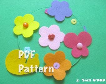 Felt Flower Meadow Buttoning Activity Quiet Book Page PDF Pattern
