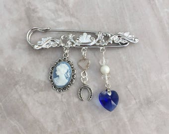 Something old, new, borrowed and blue, bridal pin, wedding tradition, bridal gift, ornate kilt pin, something blue brooch, bridal brooch