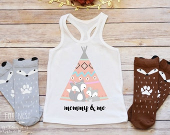 Mothers Day, Mommy and Me, Toddler Girl, Baby Girl Clothes, Boho Baby Clothes, Fox Shirt, Grey Fox, Teepee, Boho Baby Clothes, Tribal Shirt