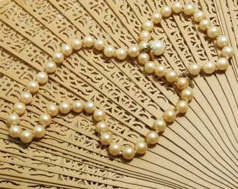 Vintage Marvella, Simulated Pearl Necklace, Hand Knotted Single Strand 1950s