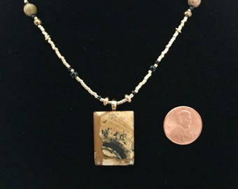 Picture Jasper hand polished Stone Pendant Necklace