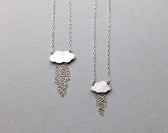 Silver Rain Cloud Pendant, Minimalist Raindrops Charm, Rainy Day Weather Jewelry, Silver Lining, Birthday Gifts, Little Rain Cloud Necklace