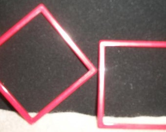 vintage red square bangle bracelets Mod geometric