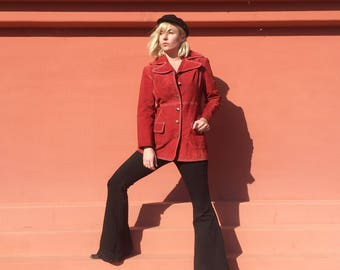 Vintage 1970's Red Suede Jacket | Large Collar | Long | Disco | Boho | Leather