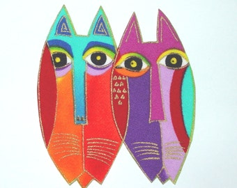 SALE*Set of 3 CAT Face Fabric Appliques*Handmade*RARE Laurel Burch designer fabric/173