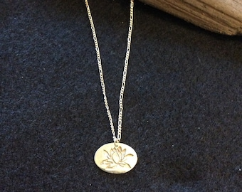 Fine silver lotus necklace