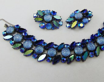 Fabulous Vintage Signed Schiaparelli Blue Aurora Borealis Moonrock Lava Rock Nugget Bracelet and Clip Earrings Set