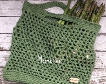 Handmade French Market Tote Bag Sage Green Cotton Reusable Grocery Bag Produce Shopping Sack Mesh Beach Bag Crochet