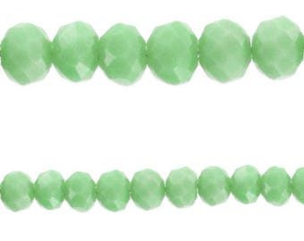 10 x beads glass Rondelle faceted Abacus) Blue Milky 10x7mm