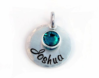 Name Pendant with Birthstone - Script Font - Personalized Charm - Aluminum Pendant - Name Charm - Hand Stamped