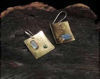 E1554 Brass Labradorite and Sterling Silver earrings