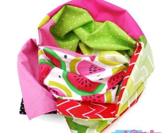 Infinity scarf in watermelon pink, green, red and black patchwork