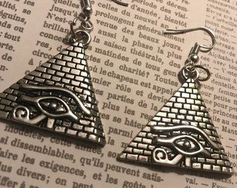 Metal pyramid with all seeing eye symbol