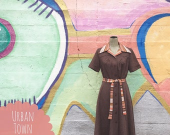 Vintage Brown And Orange Belted Dress (Medium)