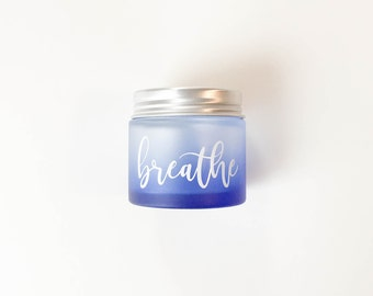 2 oz Customizable Frosted Blue Ombre Glass Jar with Plastic or Metal Lid