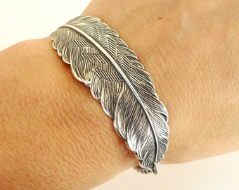 Steampunk Feather Bracelet Sterling Silver Ox Finish