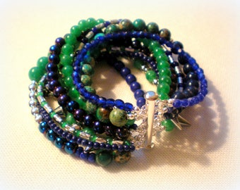 MULTI STRAND BRACELET ... royal blue and green