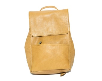 Premium Grained Leather Urban Backpack | Mustard