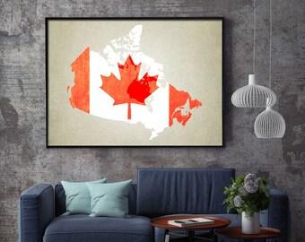 Canada Map Art Print, Canada Map Print, Canada Art Print, Canadian Flag, Canada Print, Canada Map, Canada Poster, Canada Flag Print, Canada