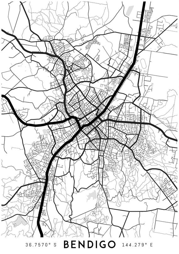 Bendigo map print Printable Bendigo map art Bendigo print
