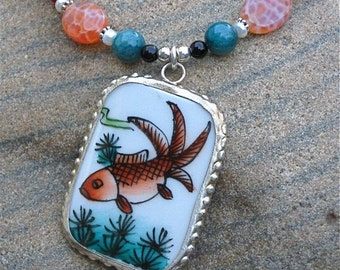 Ming Shard Necklace - Koi Fish\/ Crab Fire Agate\/ Jade\/ Sterling Silver - Tranquility