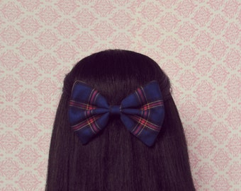 Navy Blue Plaid Hair Bow on a French Barrette - Spencer Hastings Style Preppy Hair Bow, School Hair Bow, Holiday Gift for Her