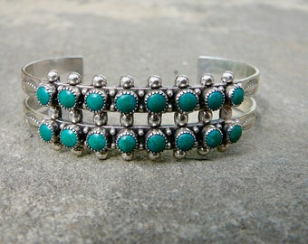 Turquoise and Silver Bracelet,Snake Eye Bracelet,Fred Harvey Style Turquoise Jewelry,MCM/Machine Age Tourist Cuff,SMALL SIZE Turquoise Cuff