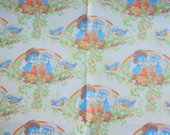 Vintage Wedding Paper - Blue Bird of Happiness wrapping paper - vintage wedding wrapping paper