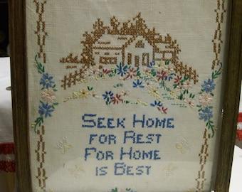 """Vintage, Sampler, Hand Stitched, Seek Home For Rest, For Home Is Best 11"""" x 14"""" , Framed Primitive, Rustic Sampler"""