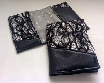 Black Faux Leather and Lace Passport Cover, Handmade Personal Passport Holder