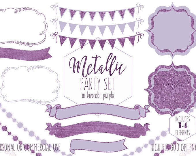 LAVENDER PURPLE PARTY Clipart for Commercial Use Clip Art Bunting Banner Lights Birthday Baby Shower Wedding Invitation Digital Graphics