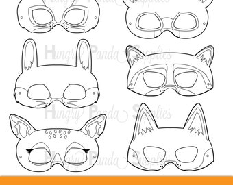 Woodland Forest Animals Coloring Masks, woodland animal mask, bear mask, fox mask, raccoon mask, bunny mask, chipmunk mask, deer mask, print