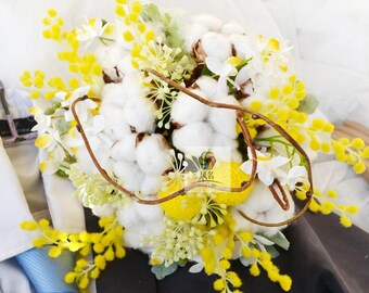 artificial flower vintage bouquet yellow white reserved cotton