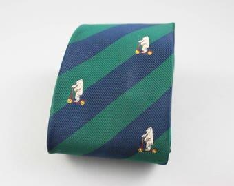 Bear Necktie - Striped Tie - Blue Turquoise Stripes - Bear Tie - Gift for Boy - Boys Ties - Necktie - Turquoise Tie - Vintage Tie